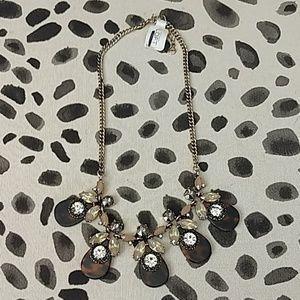 Ann Taylor Loft tortoise and crystal necklace